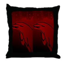 Dolphin Flip Flops (Red) Throw Pillow