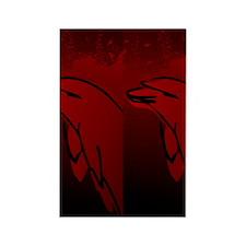 Dolphin Flip Flops (Red) Rectangle Magnet