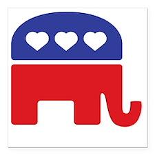 """Republican Hearts Square Car Magnet 3"""" x 3"""""""