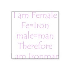 "Female Ironman Square Sticker 3"" x 3"""