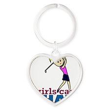 Girl Playing Golf Heart Keychain