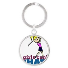 Girl Playing Golf Round Keychain
