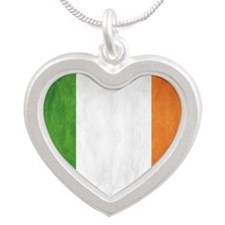 Irish Flag Silver Heart Necklace