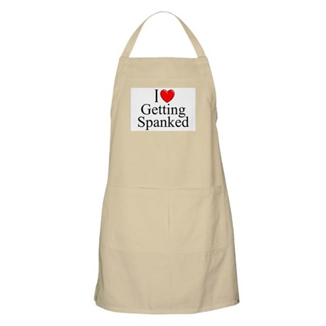 """I Love (Heart) Getting Spanked"" BBQ Apron"