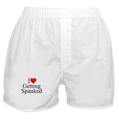 """I Love (Heart) Getting Spanked"" Boxer Shorts"