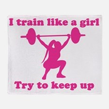 Train Like a Girl Throw Blanket