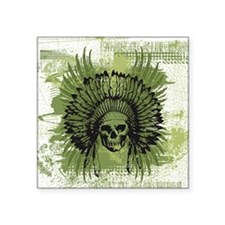 "Skull Headdress Square Sticker 3"" x 3"""