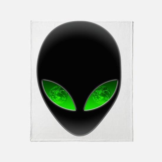 Cool Alien Earth Eye Reflection Throw Blanket