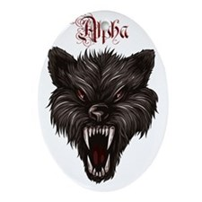 Alpha Dog Wolf  Oval Ornament