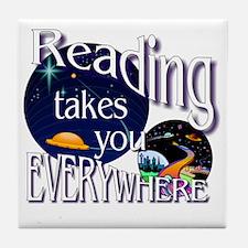 Reading Takes You Everywhere BL Tile Coaster