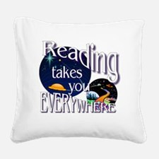 Reading Takes You Everywhere  Square Canvas Pillow