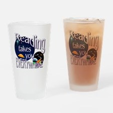 Reading Takes You Everywhere BL Drinking Glass
