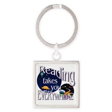 Reading Takes You Everywhere BL Square Keychain
