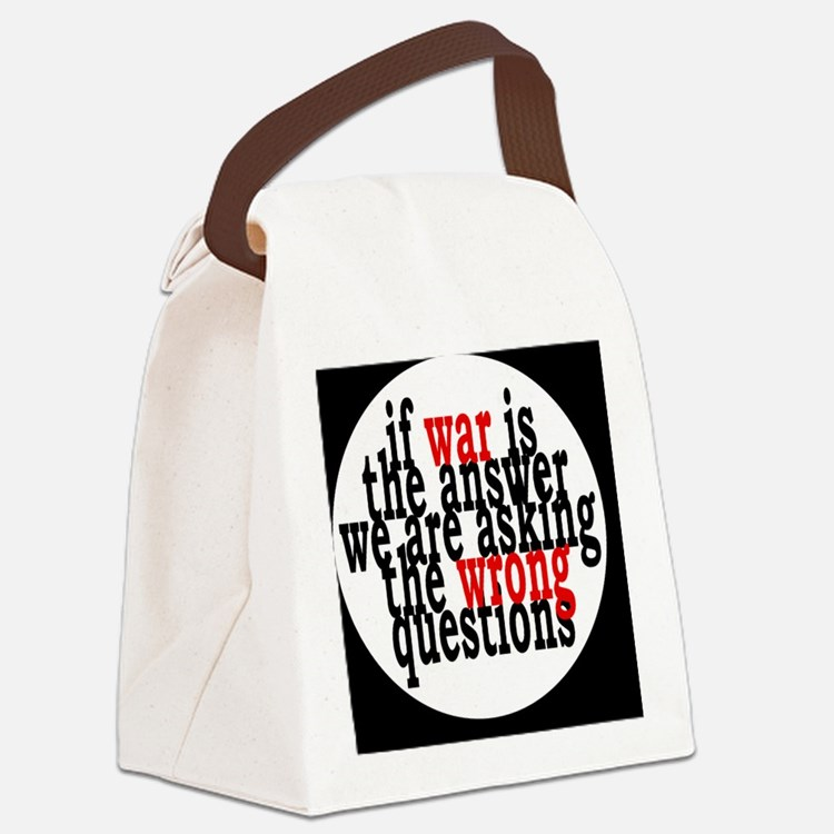 warquestionsbutton Canvas Lunch Bag