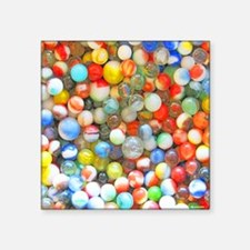 """Vintage Colorful Marbles Square Sticker 3"""" x 3"""""""