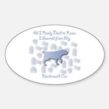 Learned Blackmouth Cur Oval Decal