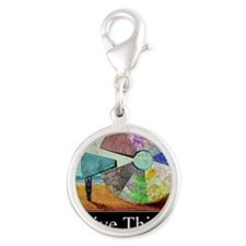 Positive Thinking Silver Round Charm