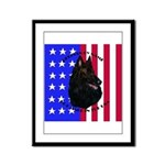 Belgian Sheepdog & Flag Framed Panel Print