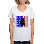 Belgian Sheepdog & Flag Women's V-Neck T-Shirt