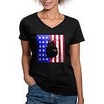 Belgian Sheepdog & Flag Women's V-Neck Dark T-Shir