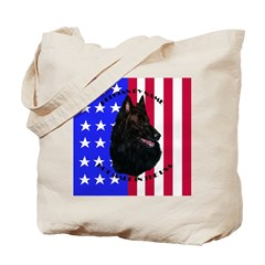 Belgian Sheepdog & Flag Tote Bag