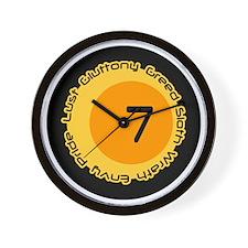 Seven 7 Sins Number Design Wall Clock