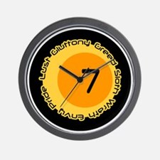 Seven 7 Sins Number Design Wall Clock