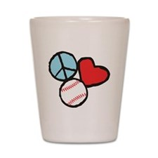 Peace, Love, Baseball Shot Glass
