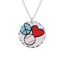 Peace, Love, Baseball Necklace