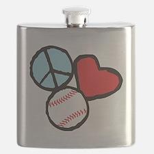 Peace, Love, Baseball Flask