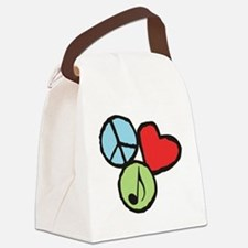 Peace, Love, Music Canvas Lunch Bag