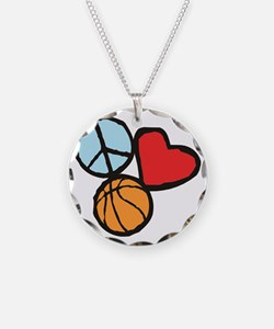 Peace, Love, Basketball Necklace