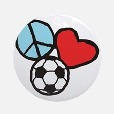 Peace, Love, Soccer Round Ornament