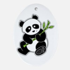 Sitting Panda Bear Oval Ornament