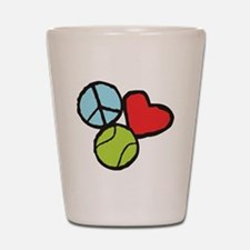 Peace, Love, Tennis Shot Glass