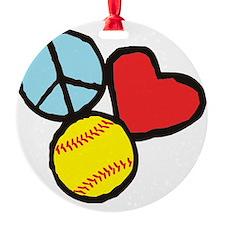 Peace, Love, Softball Ornament