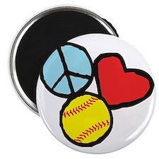 Peace, Love, Softball Magnet