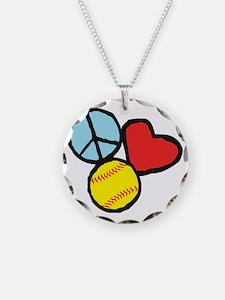 Peace, Love, Softball Necklace