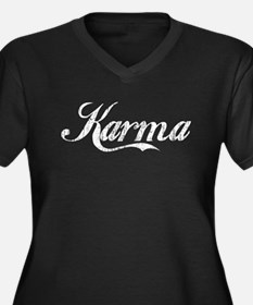 Karma Women's Plus Size V-Neck Dark T-Shirt