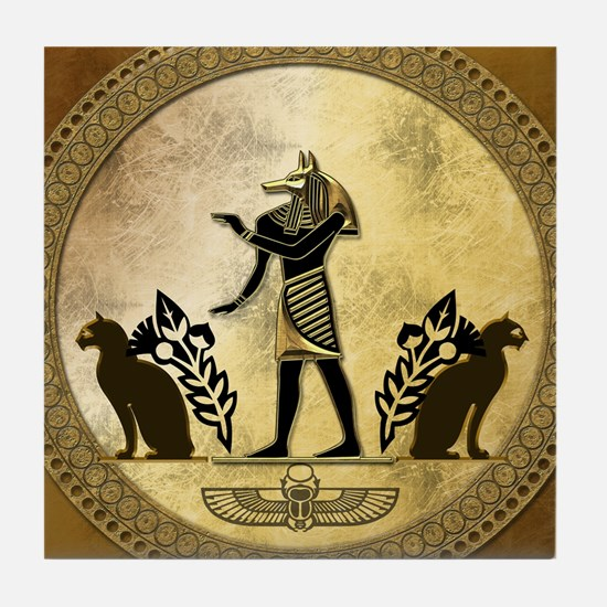 Anubis the egyptian god, gold and black Tile Coast