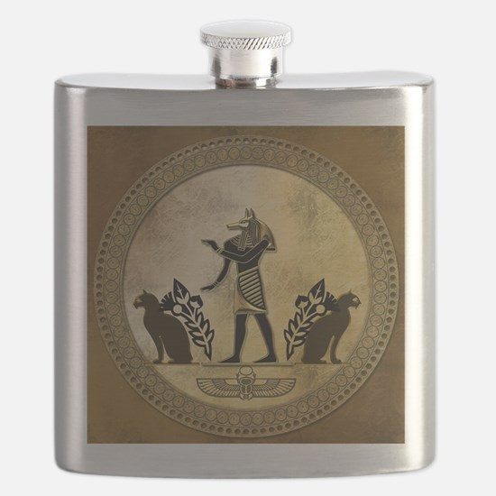 Anubis the egyptian god, gold and black Flask