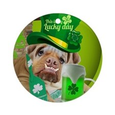 Bulldogs Lucky St. Patricks Day Round Ornament