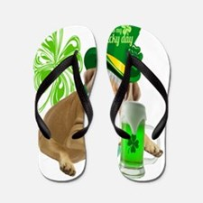 Bulldog lucky day St. Patricks Day Appa Flip Flops