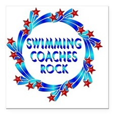 """Swimming Coaches Rock Square Car Magnet 3"""" x 3"""""""