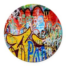 Colorful Graffiti Round Car Magnet