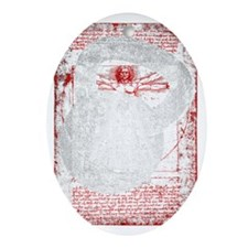 Kettlebell Vitruvian Man - for dark  Oval Ornament