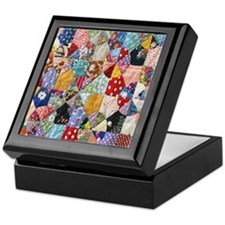 Colorful Patchwork Quilt Keepsake Box