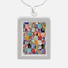 Colorful Patchwork Quilt Silver Portrait Necklace
