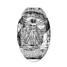 Kettlebell Vitruvian Man Oval Car Magnet