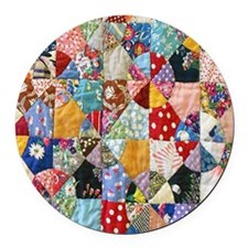 Colorful Patchwork Quilt Round Car Magnet